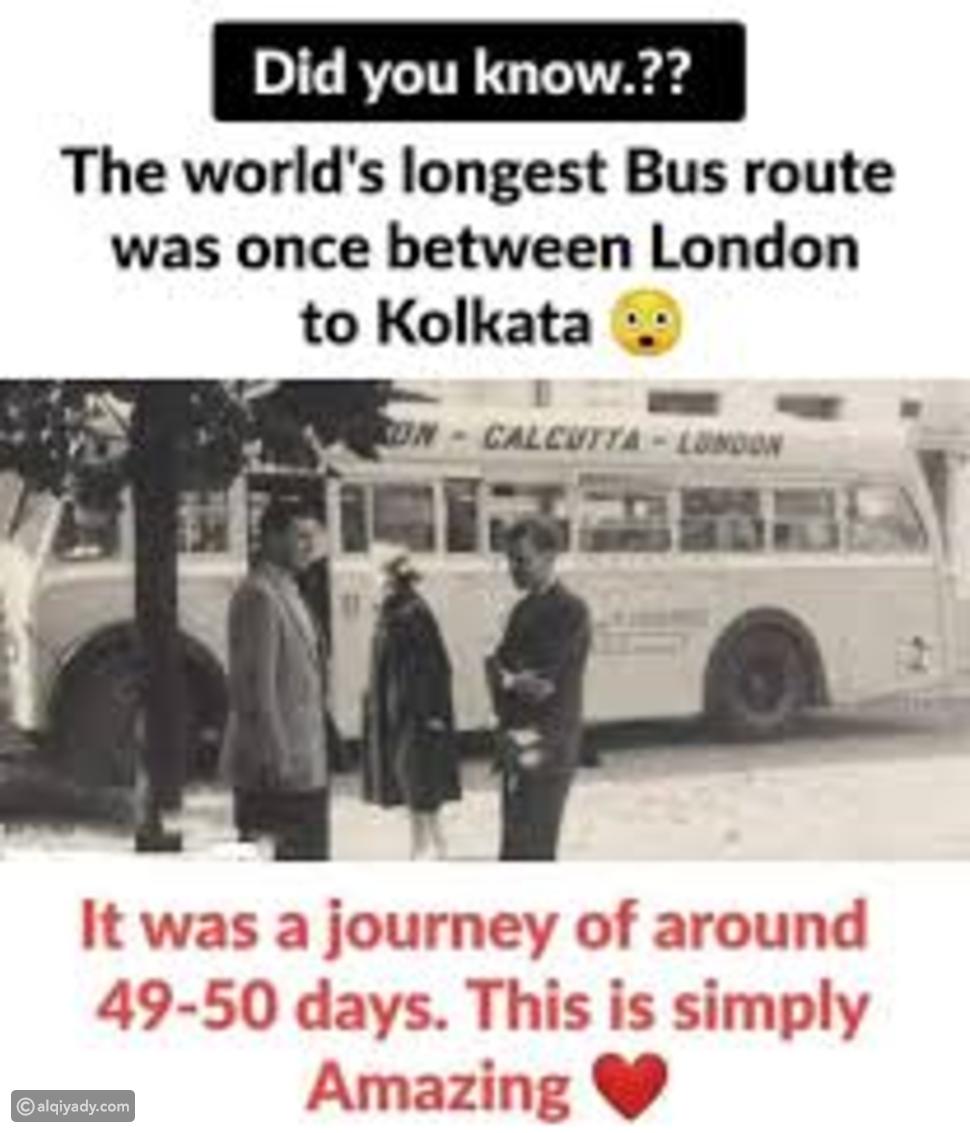 أطول طريق للحافلات في العالم ، 20300 ميل من لندن ، إنجلترا إلى كالكوتا