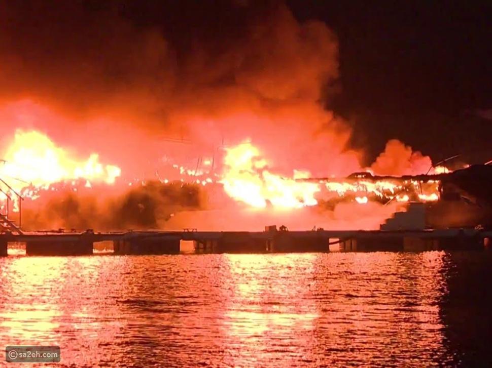 حريق يخت سياحي