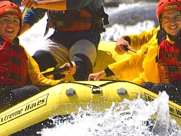 rafting in the noce for families exciting extreme waves