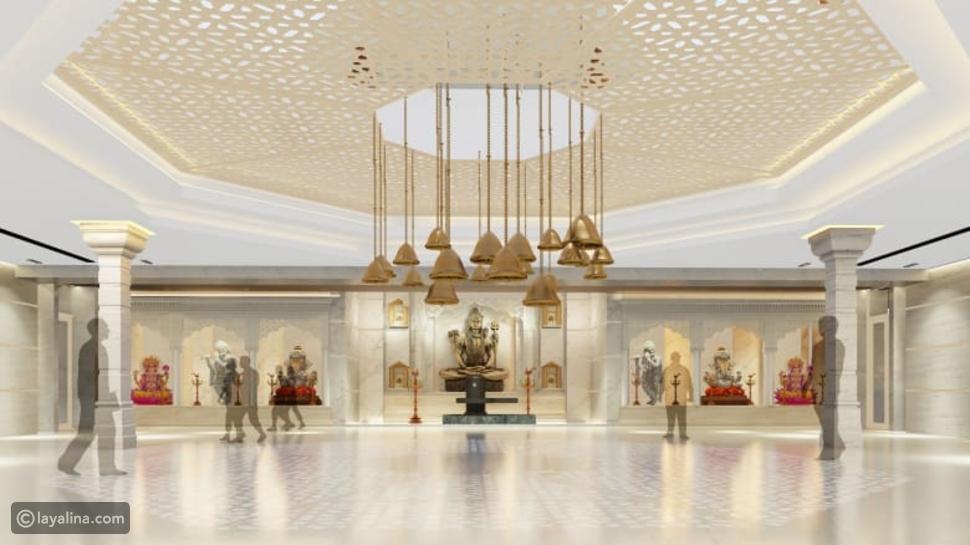 جانب من التصميم التخيلي للمعبد الهندوسي في دبي