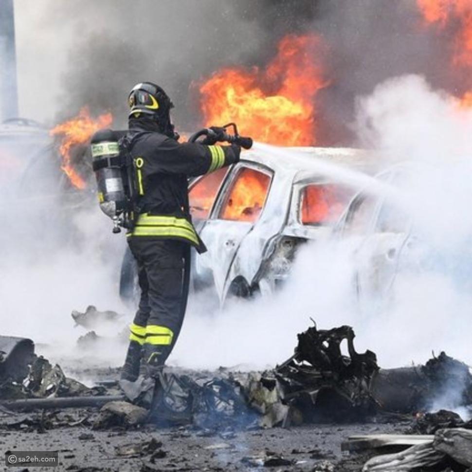 شاهد: لحظات سقوط طائرة مليادير في إيطاليا بالصور والفيديو