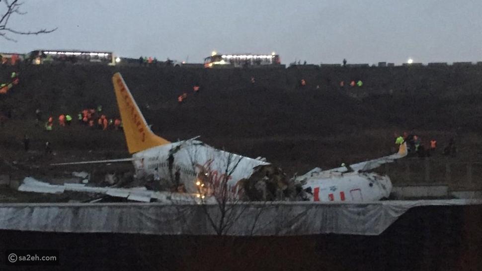 شاهد: طائرة تركية تنشطر إلى 3 أجزاء ومقتل 3 ركاب